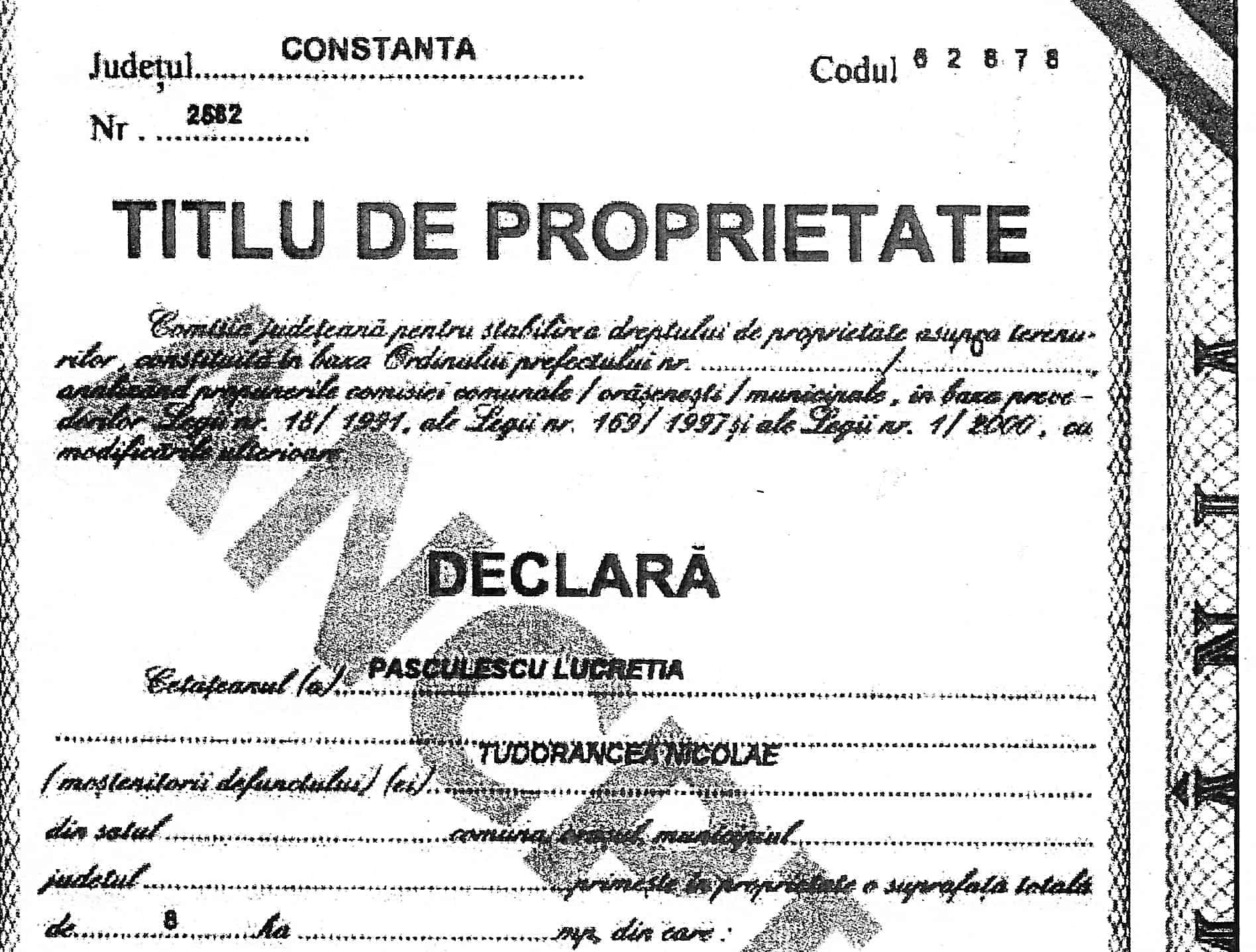 Pasculescu titlu proprietate autor Tudorancea Nicolae
