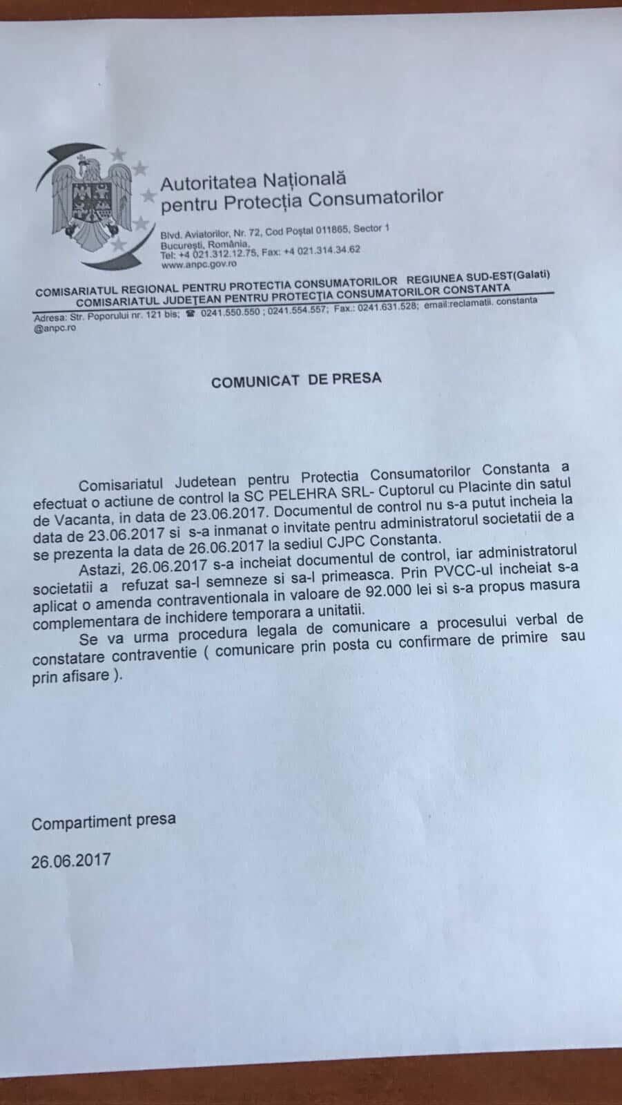 comunicat CJPC cuptorul cu placinte