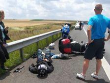 Motociclist accidentat pe autostrada A2! Circulația a fost blocată!