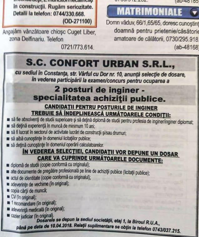 Anunt confort urban mica publicitate