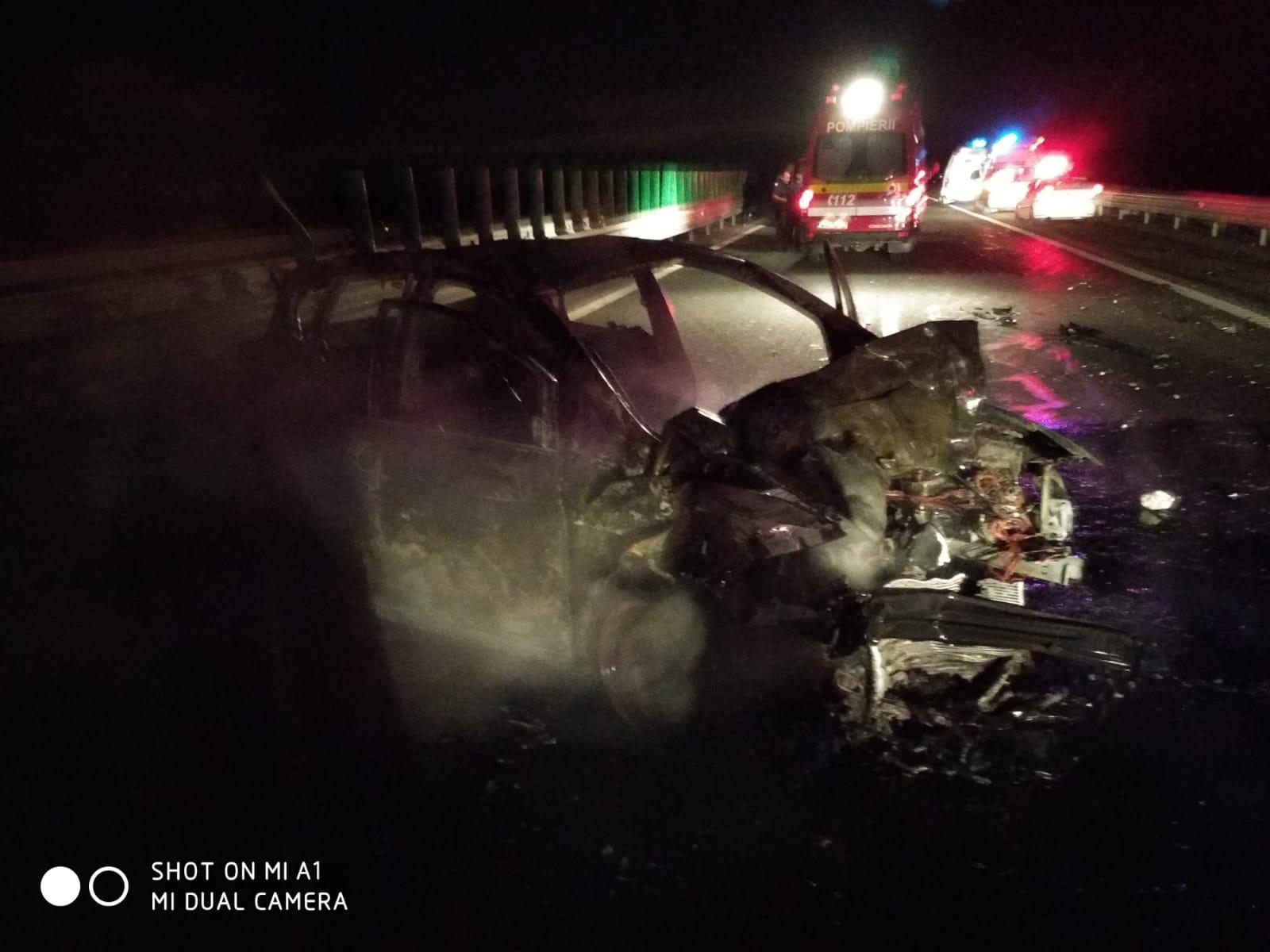 accident incendiu autostrada