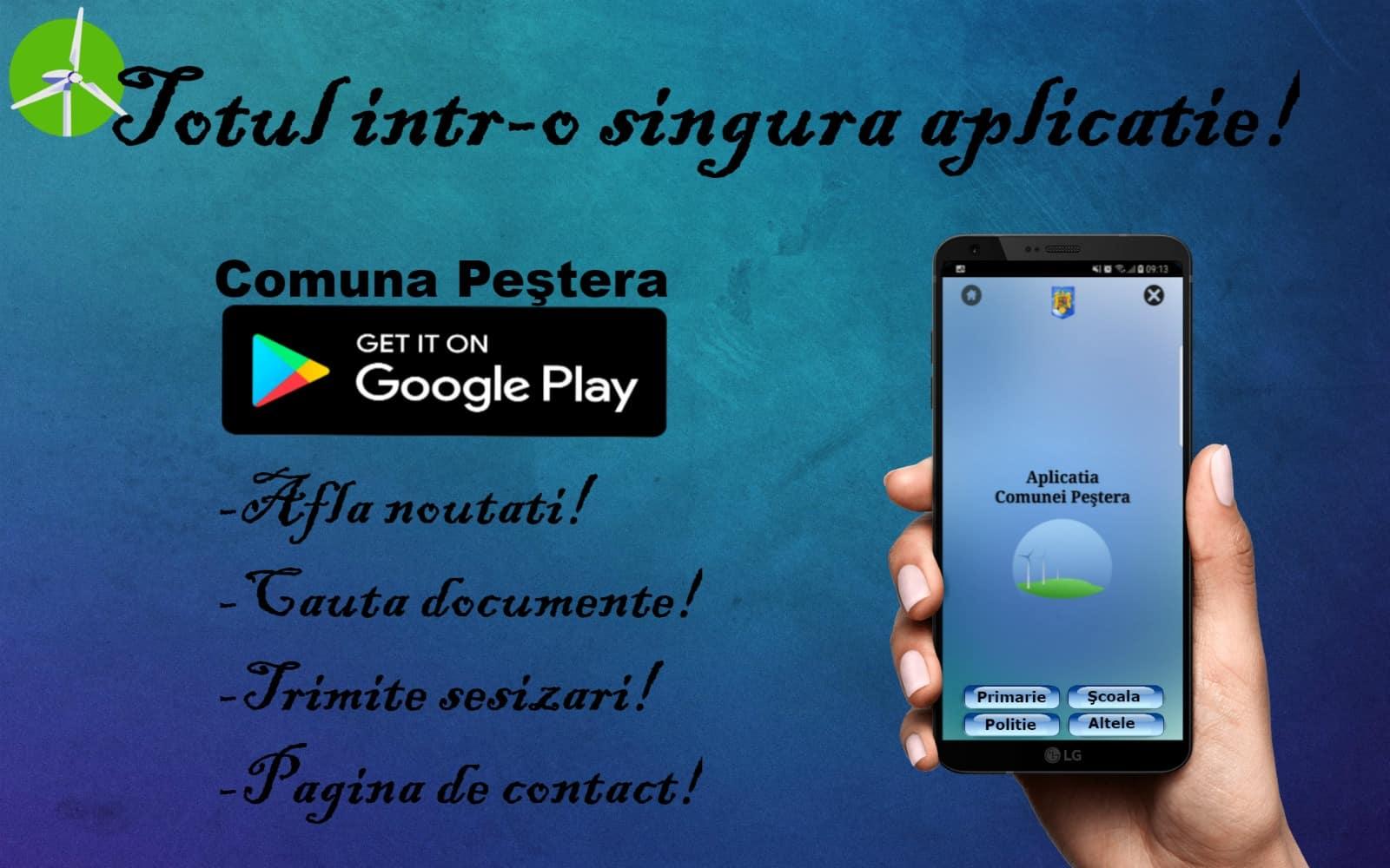 comuna Pestera – aplicatie pe telefonul mobil