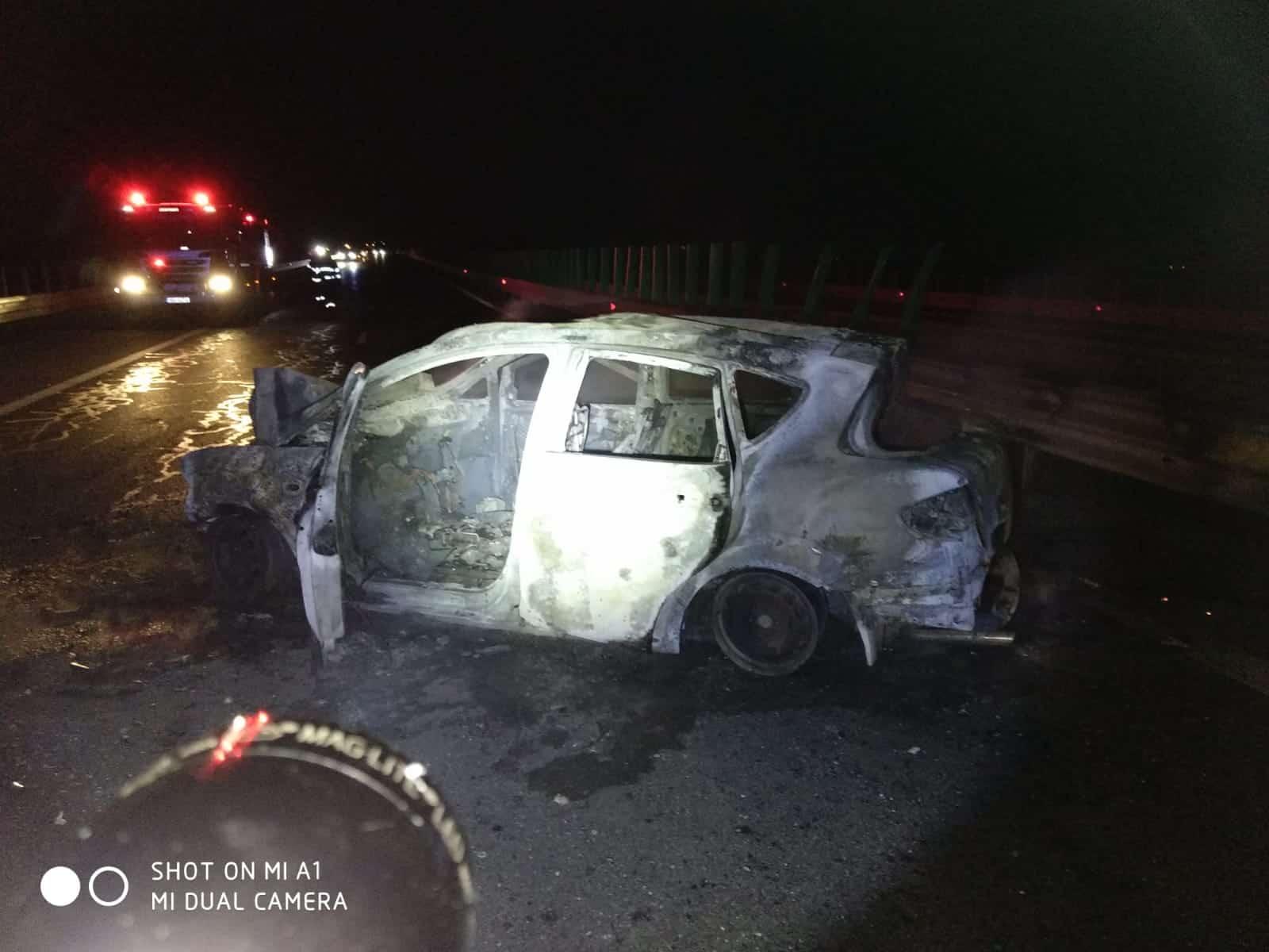 incendiu accident autostrada