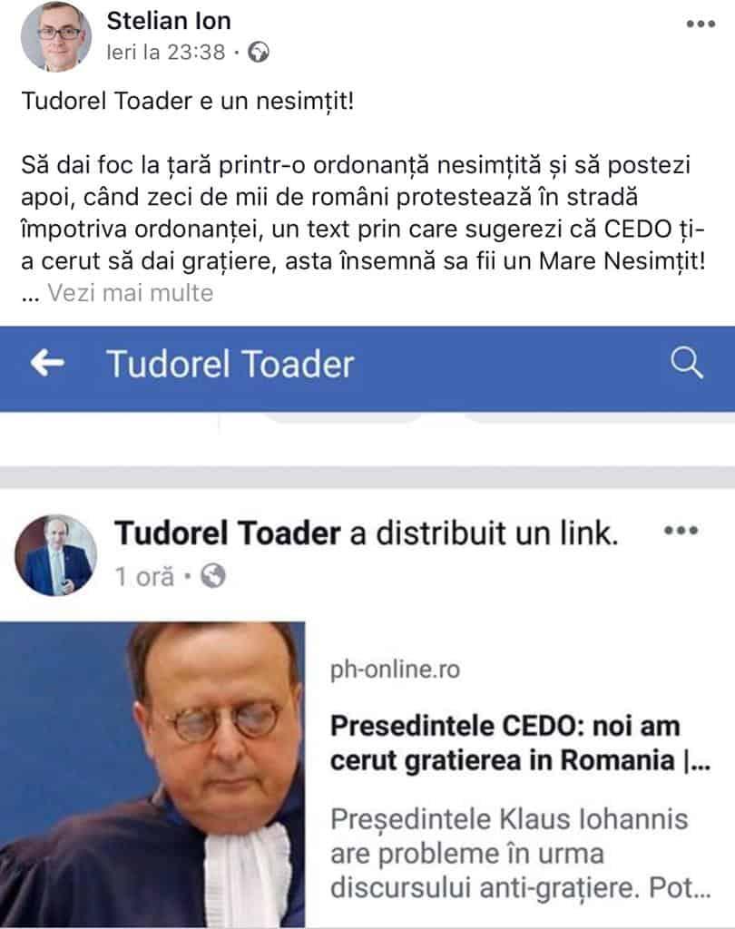 Stelian Ion – mesaj pentru Tudorel Toader